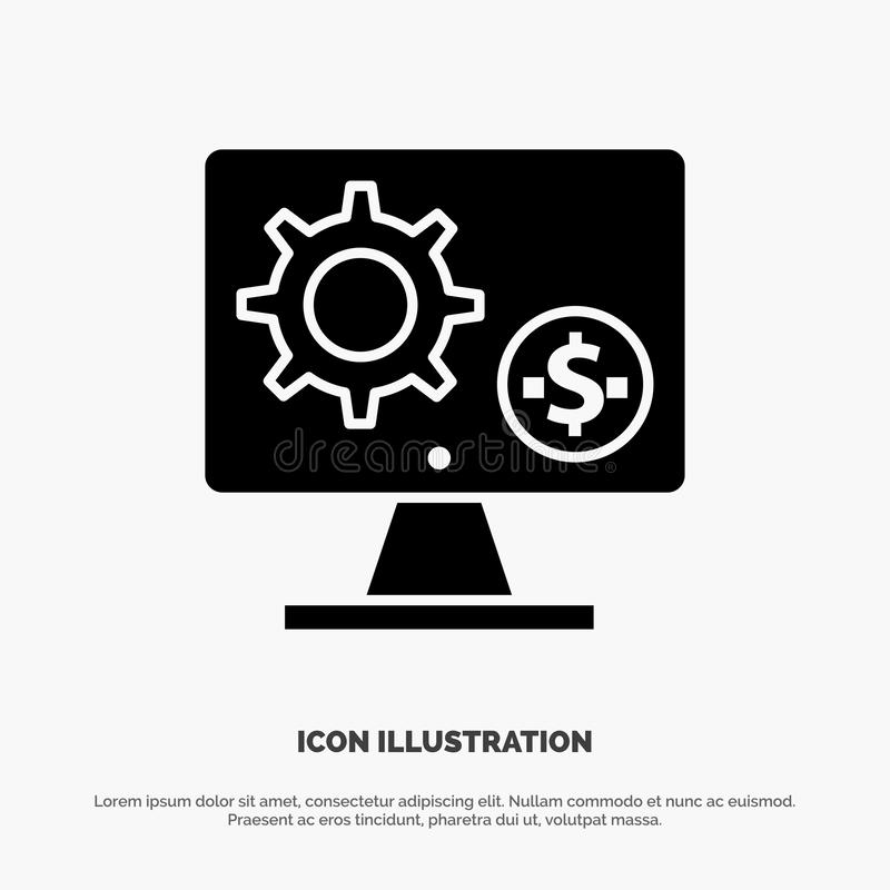 Generator, Monitor, Screen, Setting, Gear, Money solid Glyph Icon vector royalty free illustration