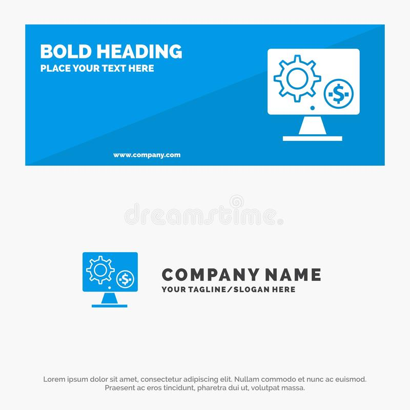 Generator, Monitor, Screen, Setting, Gear, Money SOlid Icon Website Banner and Business Logo Template stock illustration