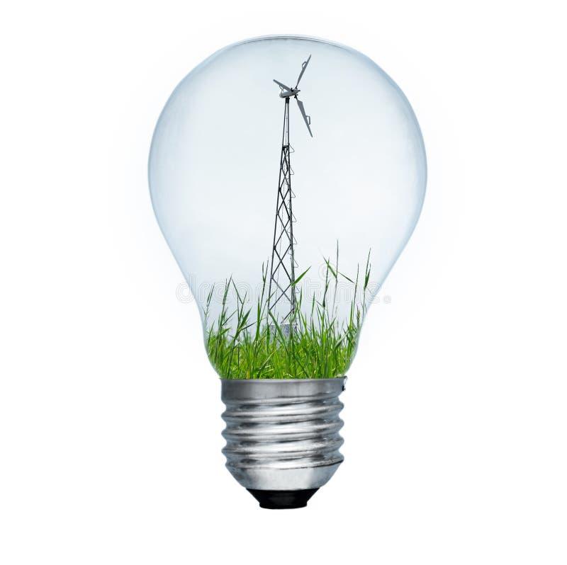 Generatore del laminatoio di vento e della lampadina fotografia stock libera da diritti