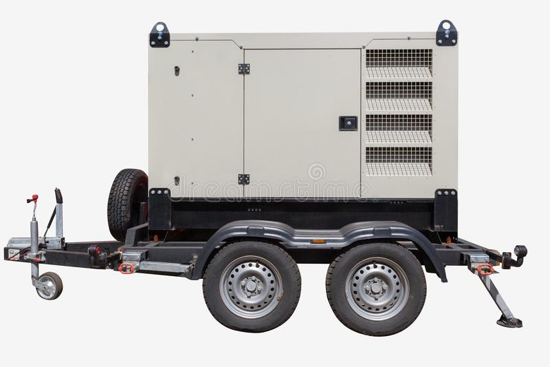 Generatore di corrente diesel industriale su fondo bianco immagine stock libera da diritti