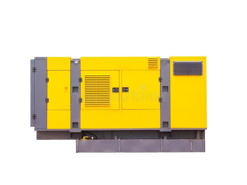 Generatore diesel mobile per energia elettrica di emergenza Isolato su priorità bassa bianca immagine stock libera da diritti