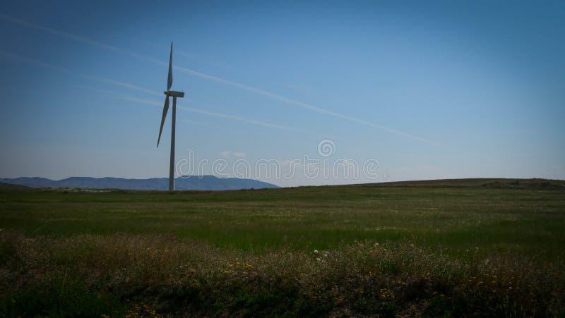 Generatore eolico in mezzo ad un prato immagine stock libera da diritti