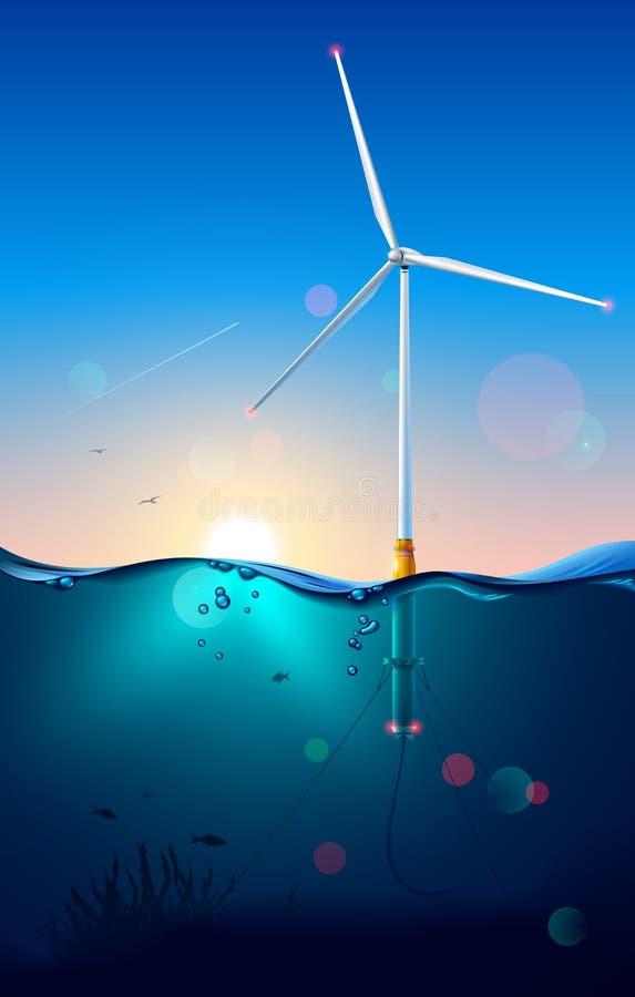 Generatore eolico su offshore Costruzione del generatore eolico Vista sottomarina o subacquea Cavo elettrico del collegamento del illustrazione di stock