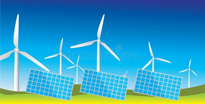 Generatoren der alternativen Energiequellen stock abbildung