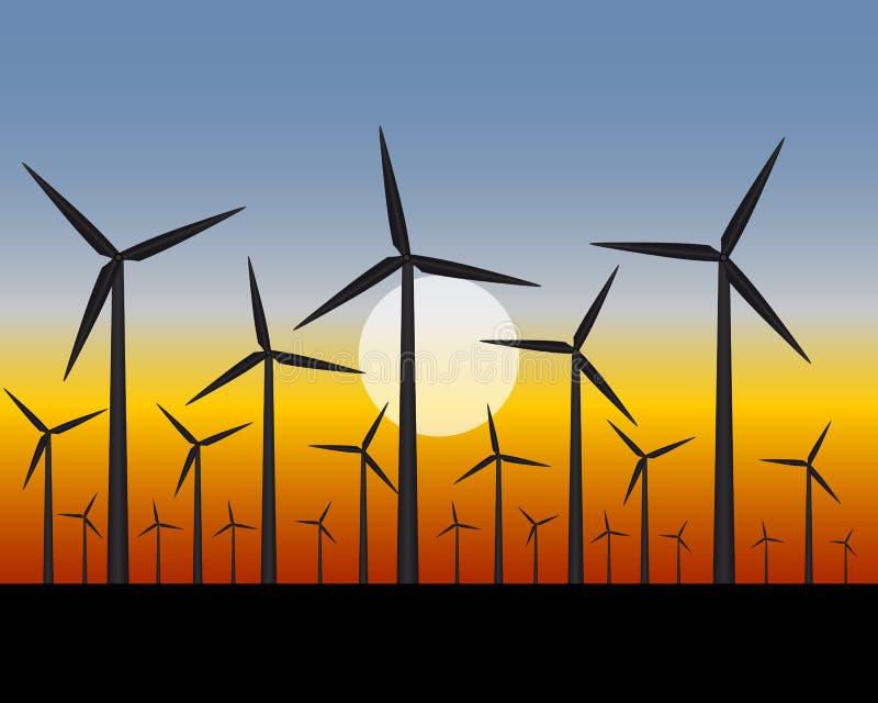 Generatorer för vindlantgårdar för elektricitet stock illustrationer