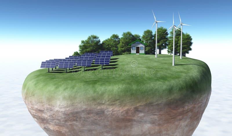 Generatori ecologici sopra un terreno illustrazione di stock