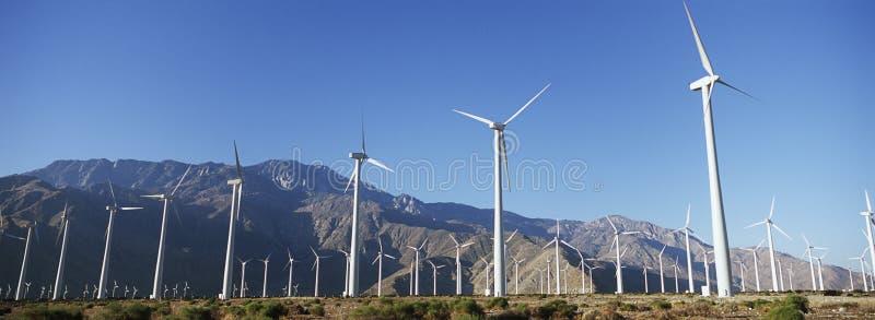 Generatori eolici in deserto fotografia stock