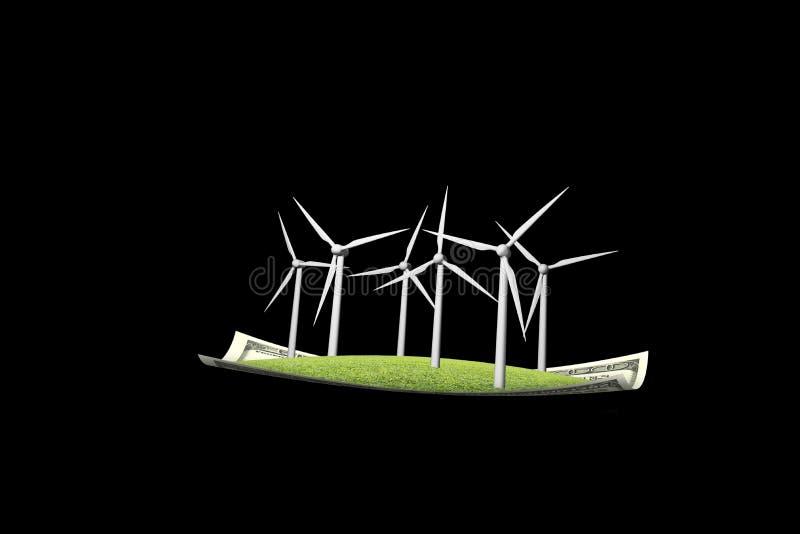 Generatori eolici sul nero del tappeto di volo dei soldi n illustrazione di stock