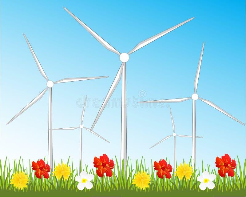 Generatori eolici sulla radura royalty illustrazione gratis