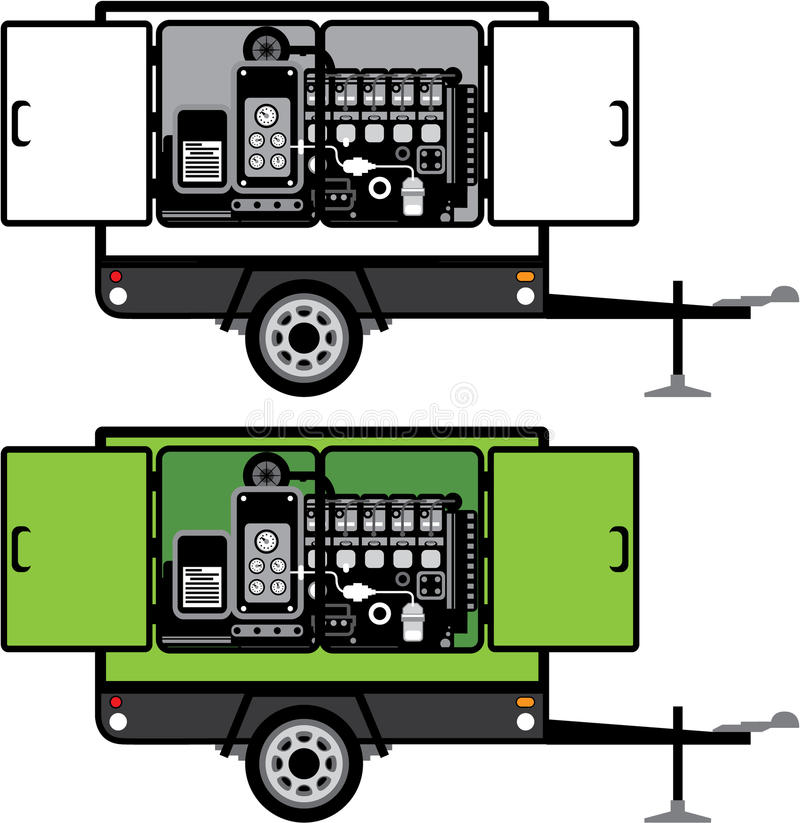 Generatorsläpvektor royaltyfri illustrationer