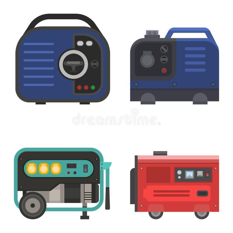Generatorvektorenergie, die industrielle elektrische Triebwerkausrüstung der tragbaren Benzintreibstoffbrennstoffenergie erzeugt vektor abbildung