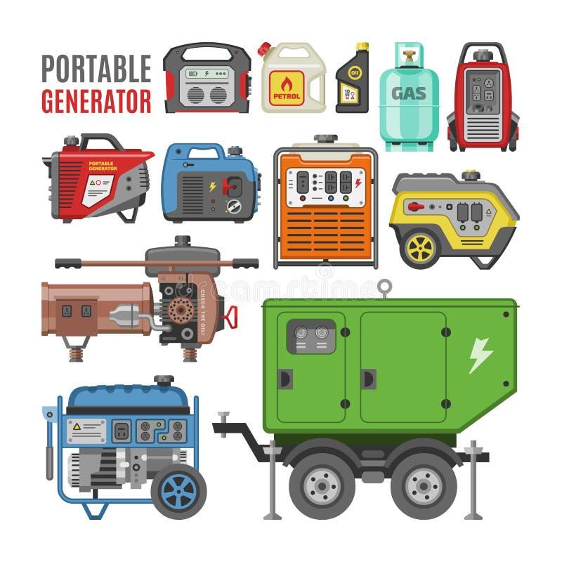 Generatorvektorenergie, die Triebwerkausrüstungs-Illustrationssatz der tragbaren Dieselkraftstoffenergie industriellen elektrisch stock abbildung