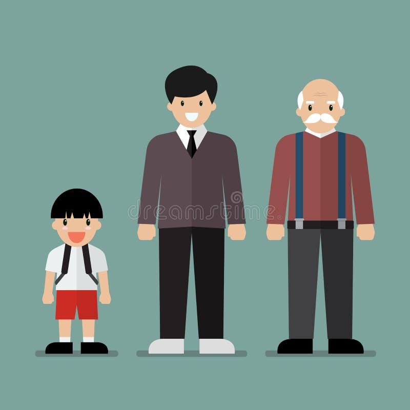 Generazione di uomini illustrazione vettoriale