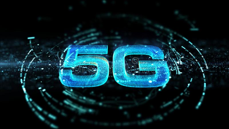 generazione innovatrice ad alta velocità senza fili digitale dell'icona 5G quinta illustrazione di stock
