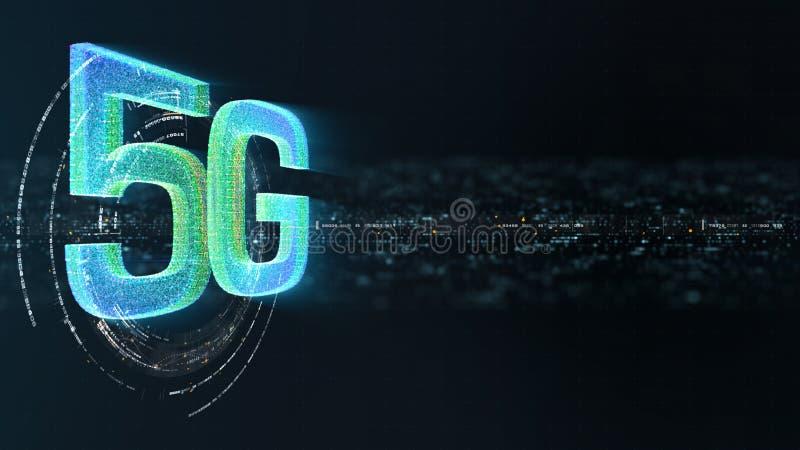 generazione innovatrice ad alta velocità senza fili digitale dell'icona 5G quinta illustrazione vettoriale