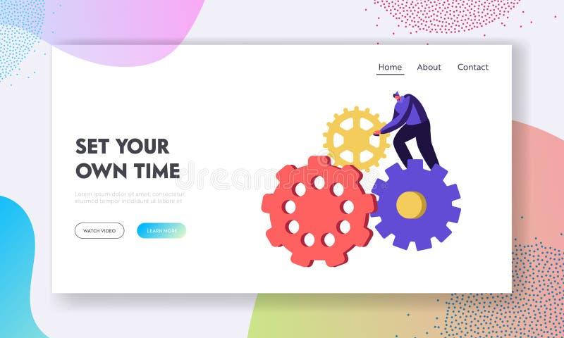 Generazione la pagina d'atterraggio del sito Web di idee, del carattere minuscolo dell'uomo giranti il meccanismo enorme delle ru illustrazione di stock