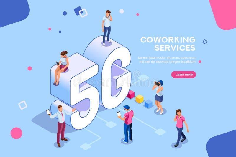 Generazione mobile 5G della gente isometrica illustrazione vettoriale