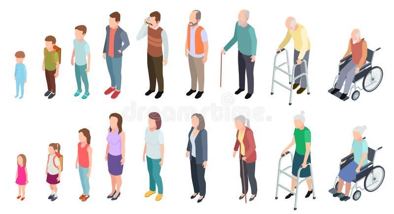 Generazioni differenti Evoluzione umana femminile adulta di età della donna dell'uomo anziano del ragazzo della ragazza dei bambi royalty illustrazione gratis