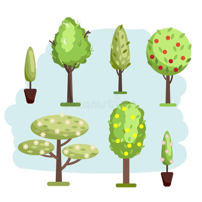 Genere differente dell'illustrazione di insieme di vettore degli alberi royalty illustrazione gratis