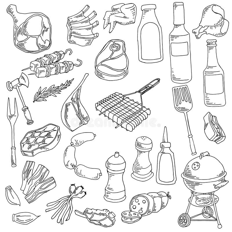 Genere differente di illustrazione dell'alimento e della carne illustrazione di stock