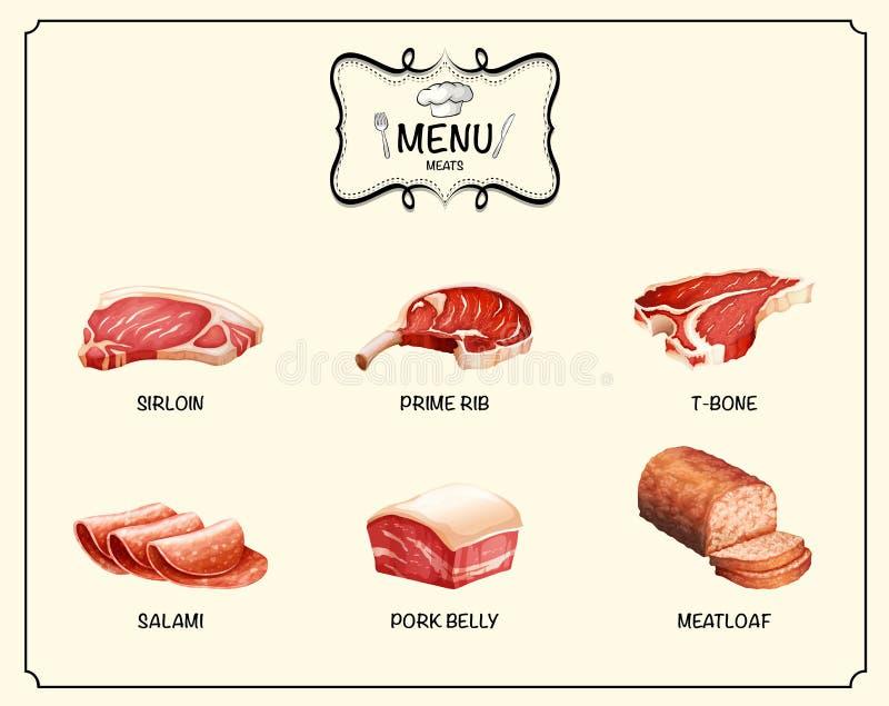 Genere differente di prodotti a base di carne royalty illustrazione gratis