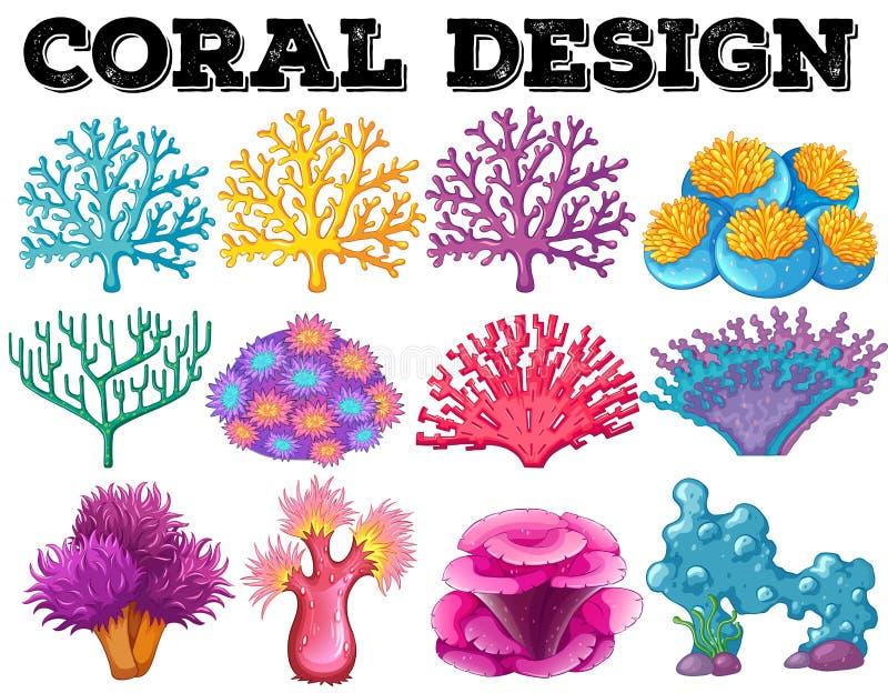 Genere differente di progettazione di corallo royalty illustrazione gratis