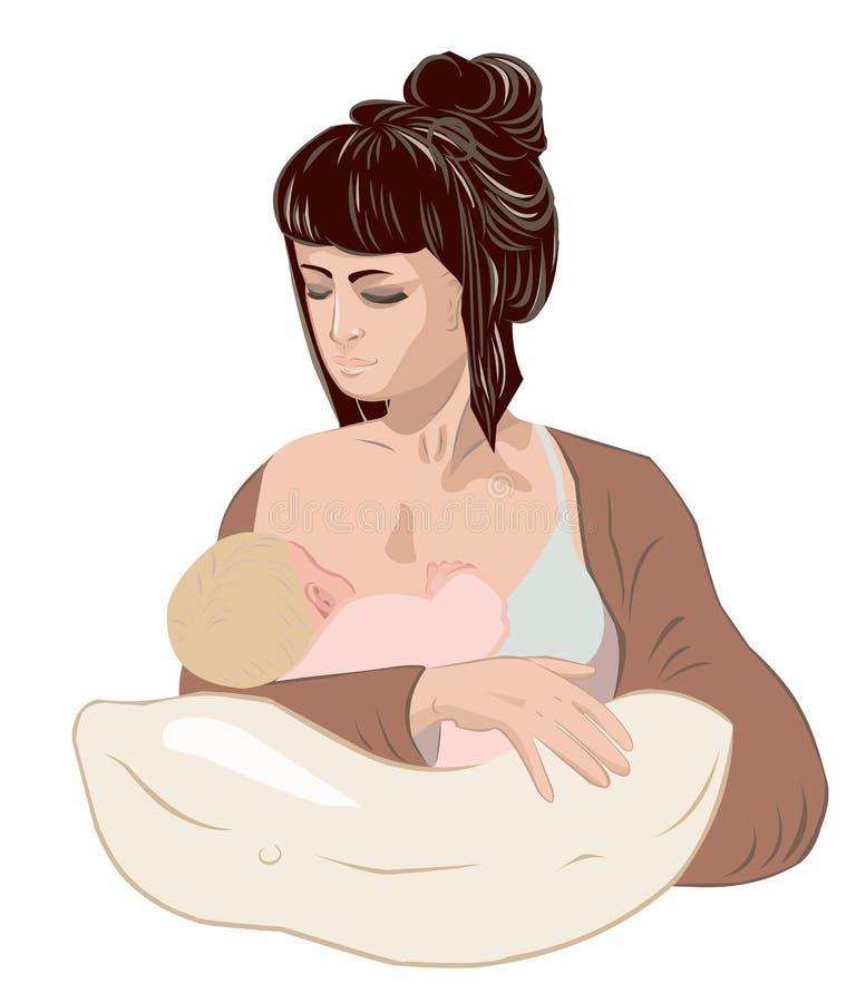 Generi allattar al senoe la sua bambina della tenuta del bambino del neonato in mani preoccupantesi facendo uso del cuscino di pr illustrazione vettoriale