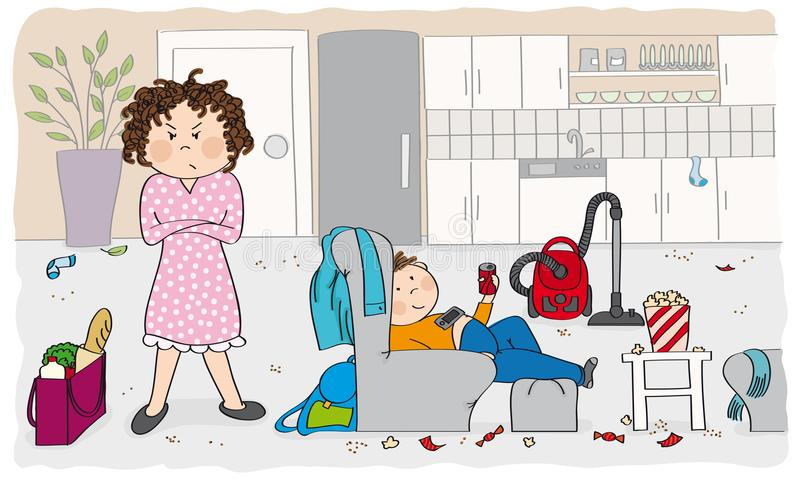 Generi arrabbiato con suo figlio pigro - illustrazione disegnata a mano originale illustrazione vettoriale