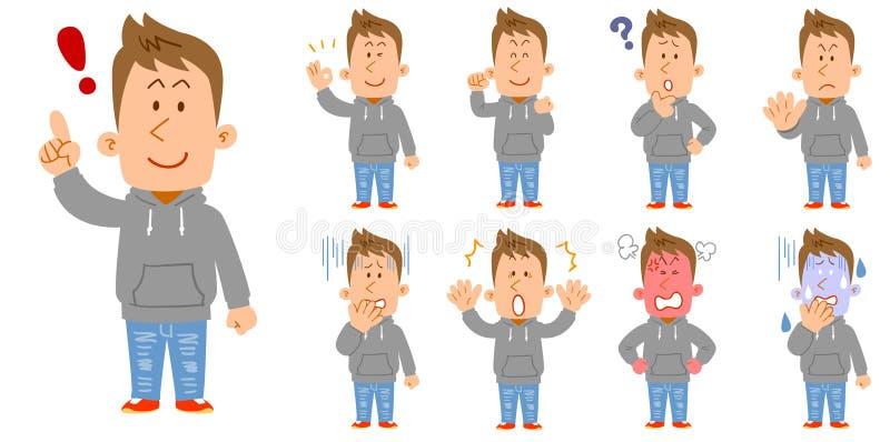 9 generi di pose e gesti del corpo intero dei giovani che indossano parker illustrazione di stock