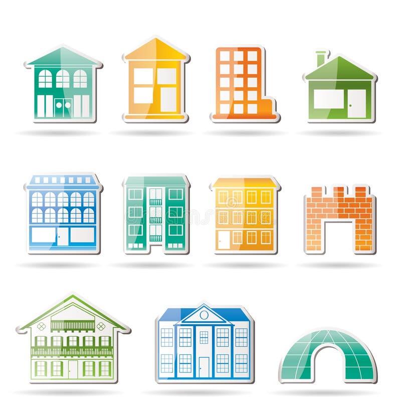 Generi differenti di case e di costruzioni illustrazione vettoriale