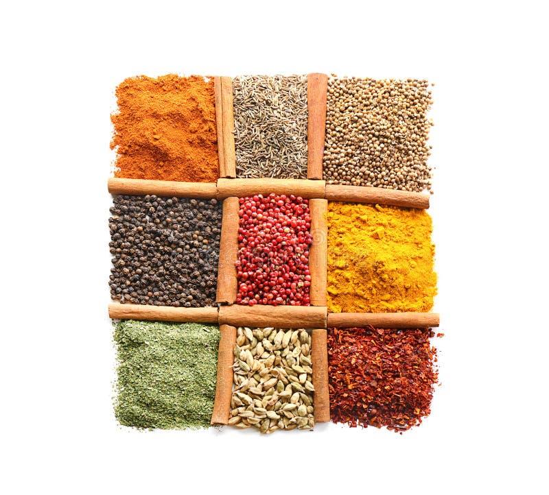Generi differenti di spezie su fondo bianco immagine stock