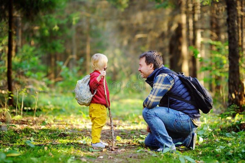 Generi ed suo figlio che cammina durante le attività d'escursione in foresta fotografie stock