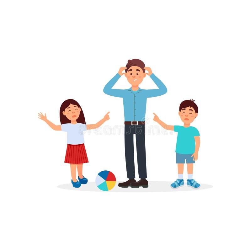 Generi essere stanco con i suoi bambini, parenting l'illustrazione di vettore di sforzo su un fondo bianco illustrazione di stock