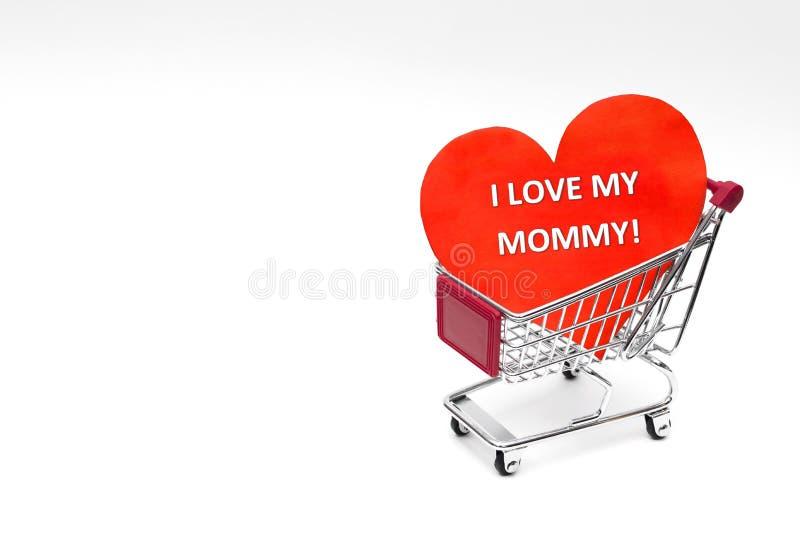 Generi il carrello del giorno del ` s con cuore ed il messaggio dal bambino immagine stock