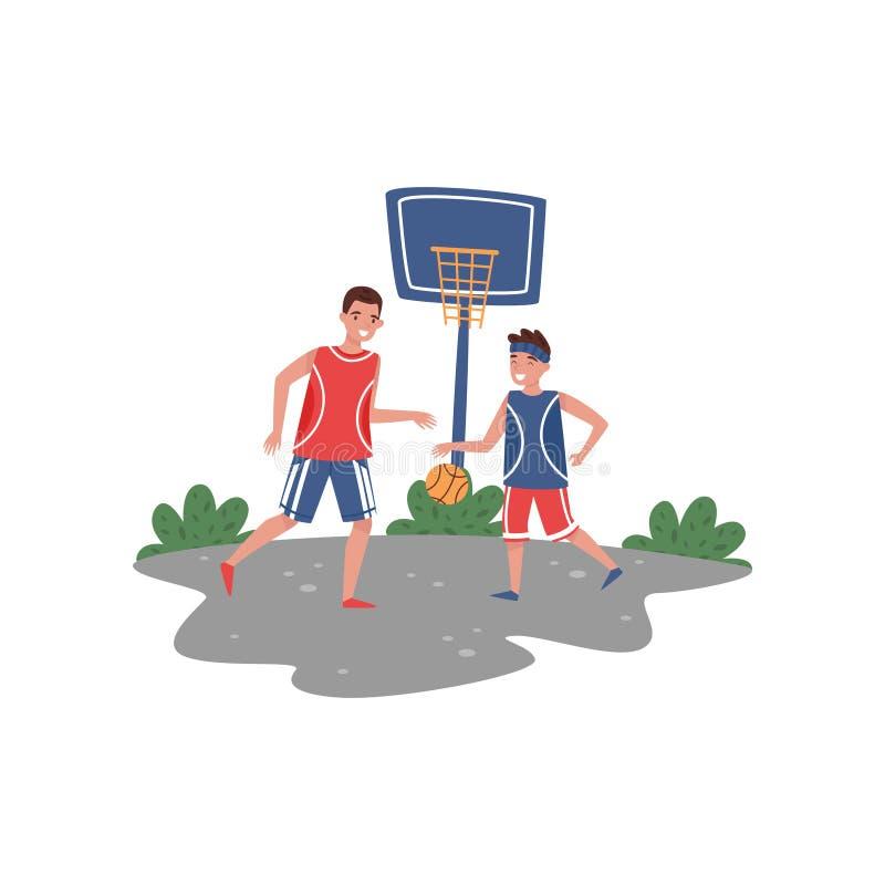 Generi il gioco della pallacanestro con suo figlio alla corte Stile di vita di sport Attività esterna Tema di paternità Progettaz illustrazione di stock