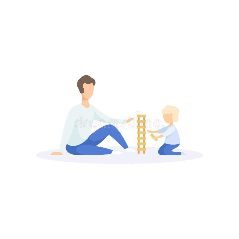 Generi l'annuncio il suo bambino che gioca le particelle elementari, illustrazione di vettore di concetto di stile di vita della  illustrazione di stock
