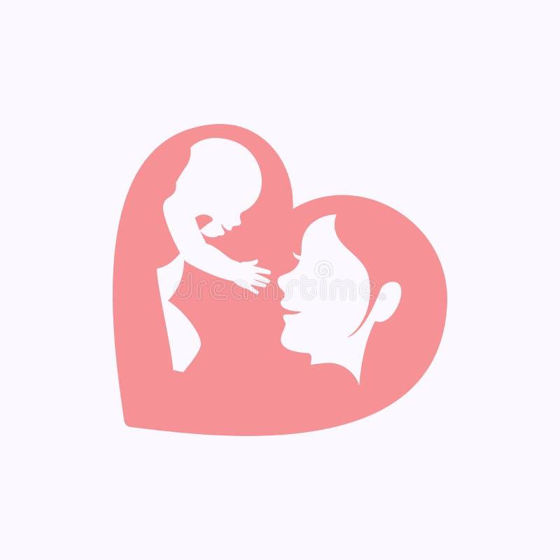Generi l'innalzamento del bambino in siluetta a forma di cuore royalty illustrazione gratis