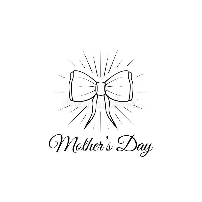 Generi la carta del giorno di s con l'arco ed il nastro Illustrazione di vettore Testo felice di giorno della madre s illustrazione di stock