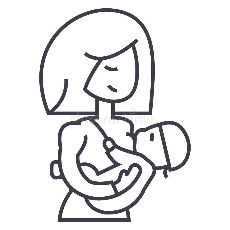 Generi la linea l'icona, il segno, illustrazione di vettore del bambino di allattamento al seno su fondo, colpi editabili illustrazione di stock