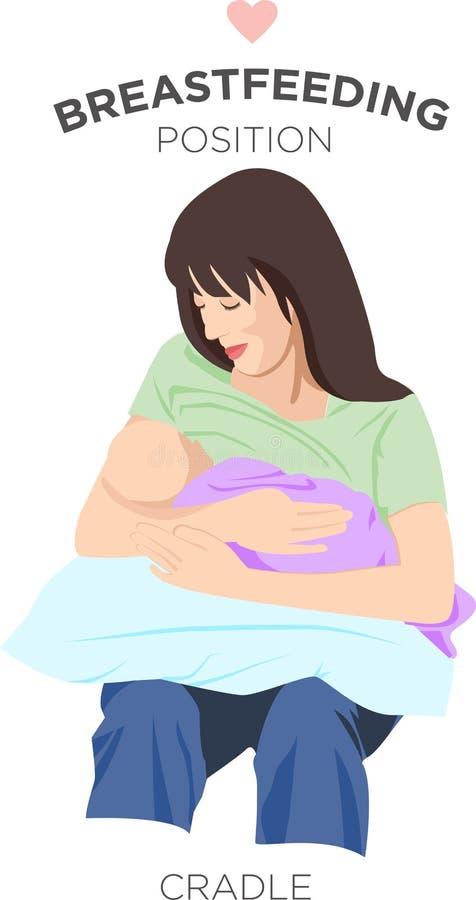 Generi la tenuta del suo neonato mentre lo alimentano nella posizione della culla illustrazione di stock
