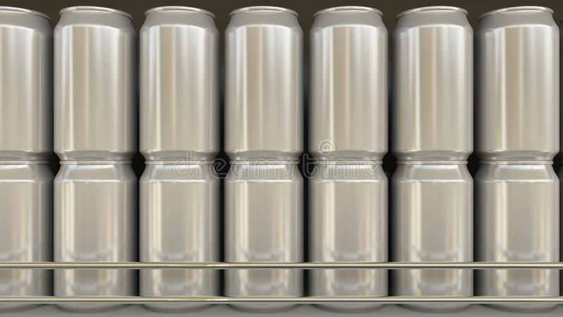 Generic aluminum cans in grocery store. Soda or beer on supermarket shelf. Modern recycling packaging. 3D rendering. Generic aluminum cans at grocery store. Soda royalty free stock photos