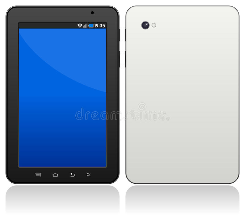 Generic Android Tablet. Generic Android touch screen pc tablet computer on white background. Eps file available royalty free illustration