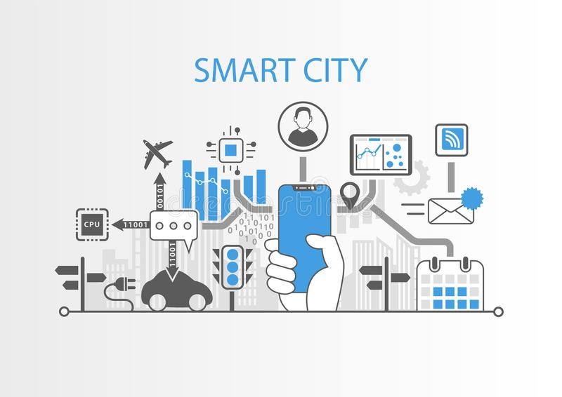 Smart city concept with hand holding modern bezel free smart phone vector illustration
