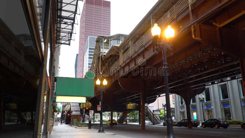 Generic blank sign for superimposing marquee name above Chicago scene restaurant stock photos
