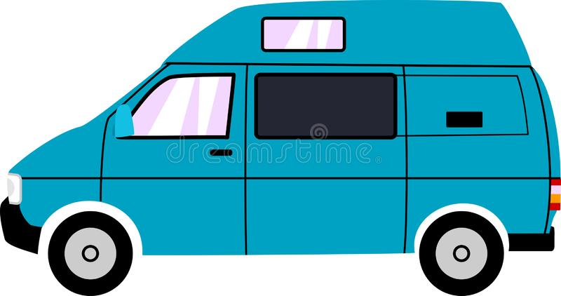 Generic Blue High Top Camper Van royalty free illustration