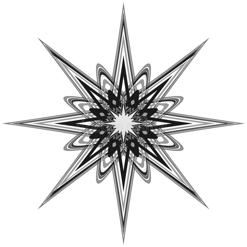 Generic circular motiff, mandala. Abstract grayscale geometric e vector illustration