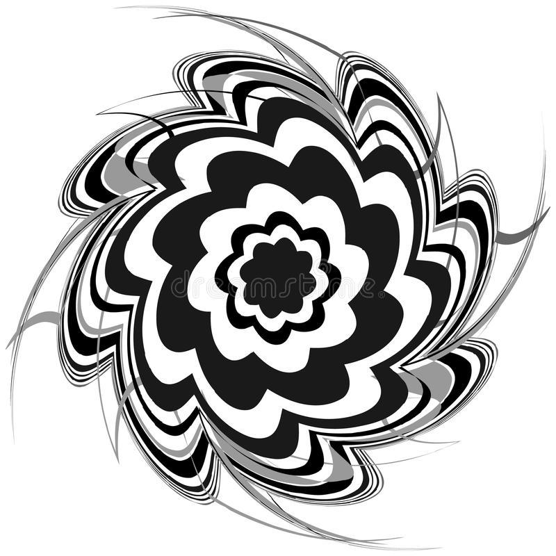 Generic circular motiff, mandala. Abstract grayscale geometric e stock illustration