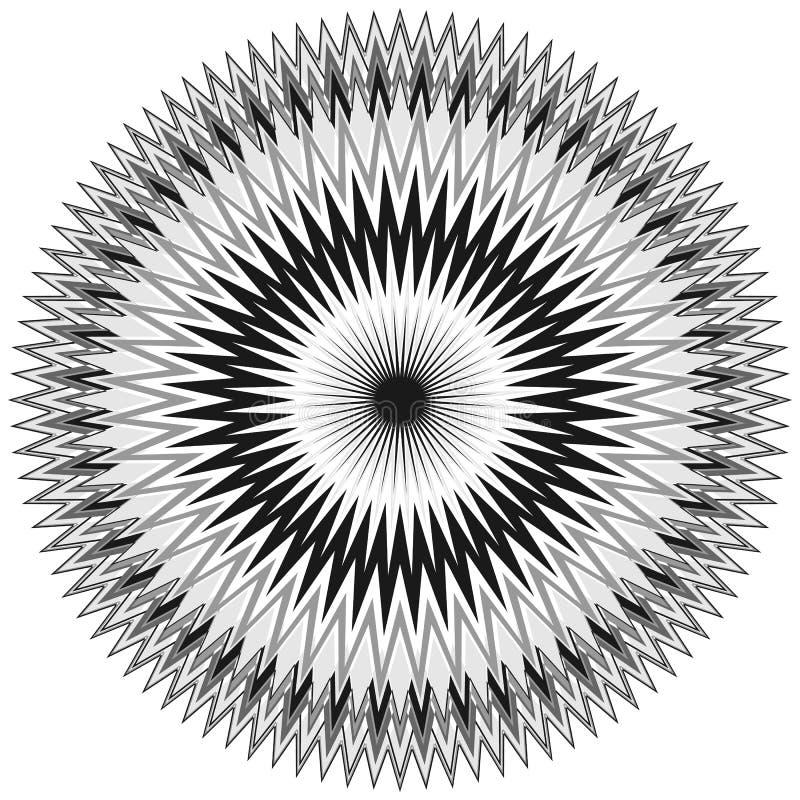 Generic circular motiff, mandala. Abstract grayscale geometric e royalty free illustration