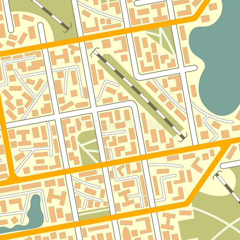 Generic city map background. EPS10 vector illustration in flat style stock illustration