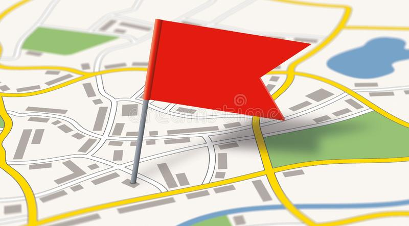 A generic city map with a flag pin stock illustration